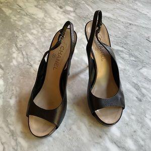 CHANEL leather slingback heels